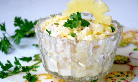рецепт вкусного салат из куриной грудки и анансов