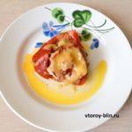 фаршированный перец с сыром и куриным фаршем