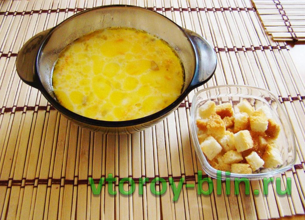Суп из свежих грибов с плавленым сыром и сливками