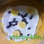 Блинный торт с бананом и черничкой